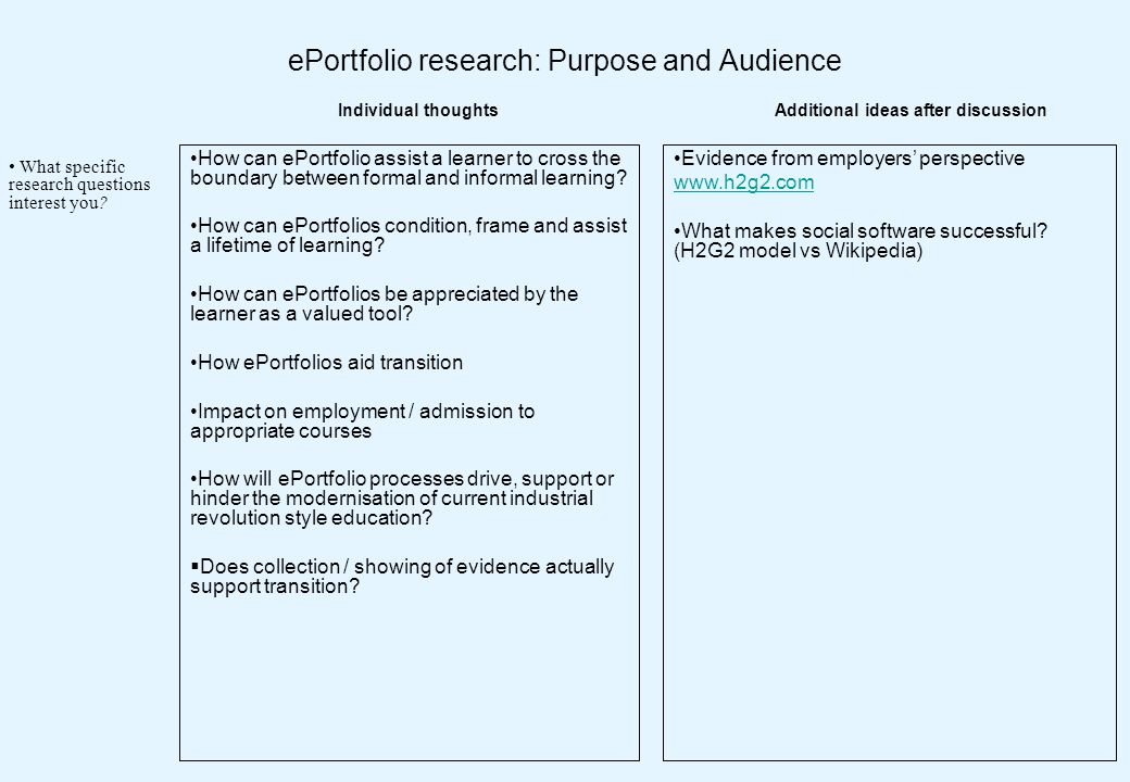 ePortfolio research: Purpose and Audience How can ePortfolio assist a learner to cross the boundary between formal and informal learning? How can ePor