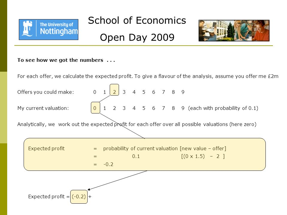 School of Economics Open Day 2009 To see how we got the numbers...