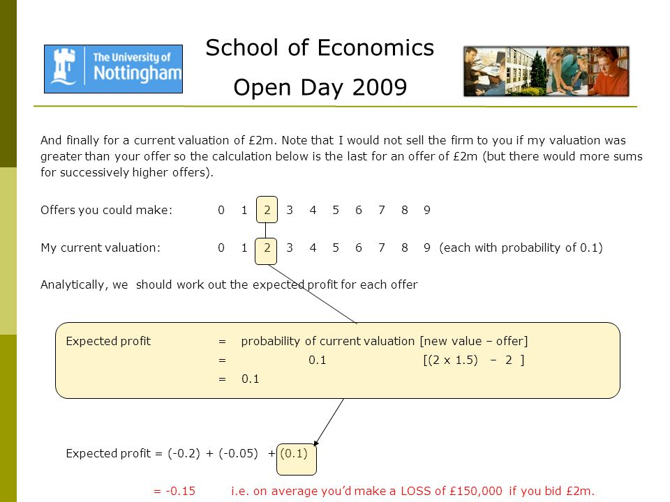 School of Economics Open Day 2009 And finally for a current valuation of £2m.