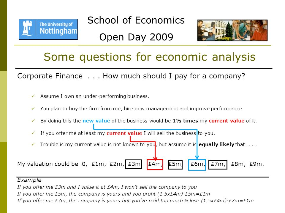 School of Economics Open Day 2009 Some questions for economic analysis Corporate Finance...