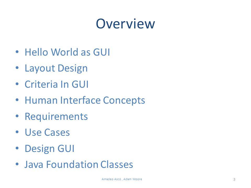 4 Amadeo Ascó, Adam Moore Hello World as GUI import javax.swing.JFrame; import javax.swing.JLabel; public class HelloWorldGUI extends JFrame { public static void main(String[] args) { new HelloWorldGUI(); } // main() HelloWorldGUI() { super( Hello World ); // the title JLabel jlbHelloWorld = new JLabel( Hello World! ); add(jlbHelloWorld); // add label to the GUI setSize(150, 80); // size of the window setDefaultCloseOperation(JFrame.EXIT_ON_CLOSE); setVisible(true); // show the GUI } // Constructor () } // end class HelloWorldGUI import javax.swing.JFrame; import javax.swing.JLabel; public class HelloWorldGUI extends JFrame { public static void main(String[] args) { new HelloWorldGUI(); } // main() HelloWorldGUI() { super( Hello World ); // the title JLabel jlbHelloWorld = new JLabel( Hello World! ); add(jlbHelloWorld); // add label to the GUI setSize(150, 80); // size of the window setDefaultCloseOperation(JFrame.EXIT_ON_CLOSE); setVisible(true); // show the GUI } // Constructor () } // end class HelloWorldGUI