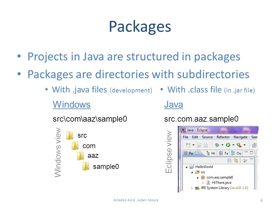 4 Amadeo Ascó, Adam Moore Packages Projects in Java are structured in packages Packages are directories with subdirectories With.java files (development) With.class file (in.jar file) src com aaz sample0 src\com\aaz\sample0 Windows Eclipse view Java src.com.aaz.sample0 Windows view