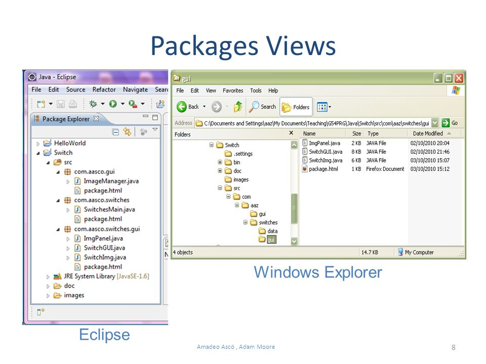8 Amadeo Ascó, Adam Moore Packages Views Eclipse Windows Explorer
