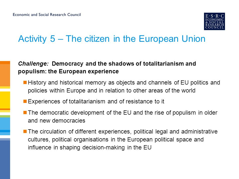 Activity 5 – The citizen in the European Union Challenge: Democracy and the shadows of totalitarianism and populism: the European experience History and historical memory as objects and channels of EU politics and policies within Europe and in relation to other areas of the world Experiences of totalitarianism and of resistance to it The democratic development of the EU and the rise of populism in older and new democracies The circulation of different experiences, political legal and administrative cultures, political organisations in the European political space and influence in shaping decision-making in the EU