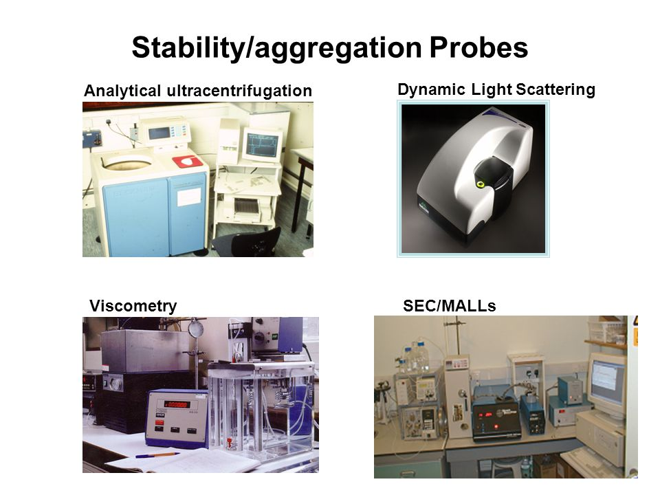 Stability/aggregation Probes Analytical ultracentrifugation Dynamic Light Scattering ViscometrySEC/MALLs