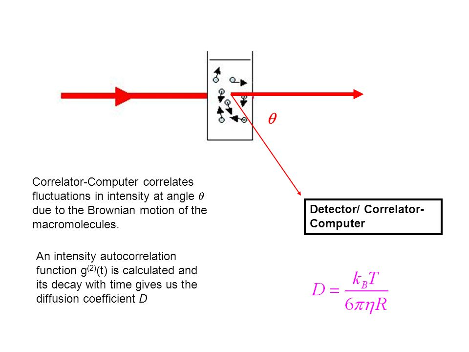 Detector/ Correlator- Computer Correlator-Computer correlates fluctuations in intensity at angle due to the Brownian motion of the macromolecules. An