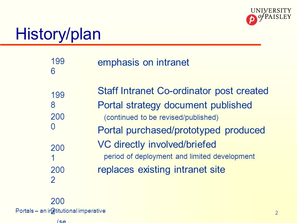 2 Portals – an institutional imperative History/plan 199 6 199 8 200 0 200 1 200 2 (se pt) emphasis on intranet Staff Intranet Co-ordinator post created Portal strategy document published (continued to be revised/published) Portal purchased/prototyped produced VC directly involved/briefed period of deployment and limited development replaces existing intranet site