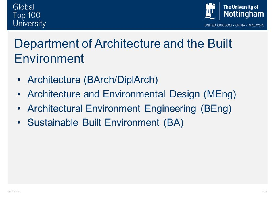 4/4/201410 Department of Architecture and the Built Environment Architecture (BArch/DiplArch) Architecture and Environmental Design (MEng) Architectural Environment Engineering (BEng) Sustainable Built Environment (BA)
