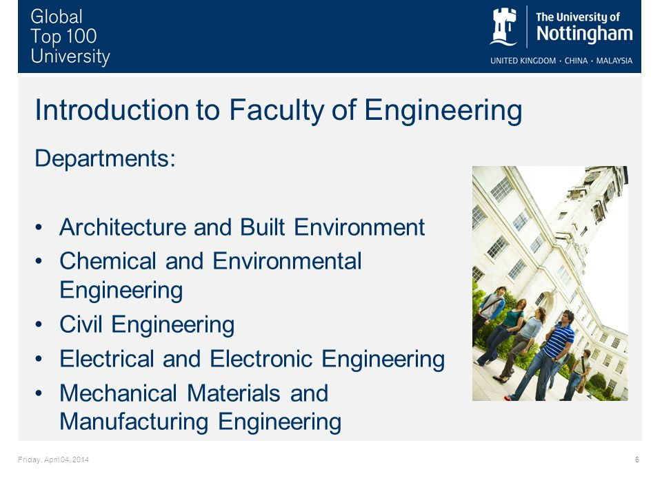 Friday, April 04, Introduction to Faculty of Engineering Departments: Architecture and Built Environment Chemical and Environmental Engineering Civil Engineering Electrical and Electronic Engineering Mechanical Materials and Manufacturing Engineering