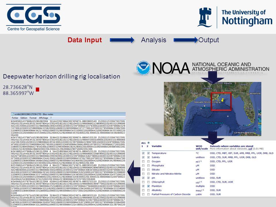 Deepwater horizon drilling rig localisation 28.736628°N 88.365997°W AnalysisOutputData Input