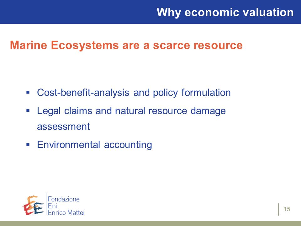 15 Why economic valuation Cost-benefit-analysis and policy formulation Legal claims and natural resource damage assessment Environmental accounting Ma