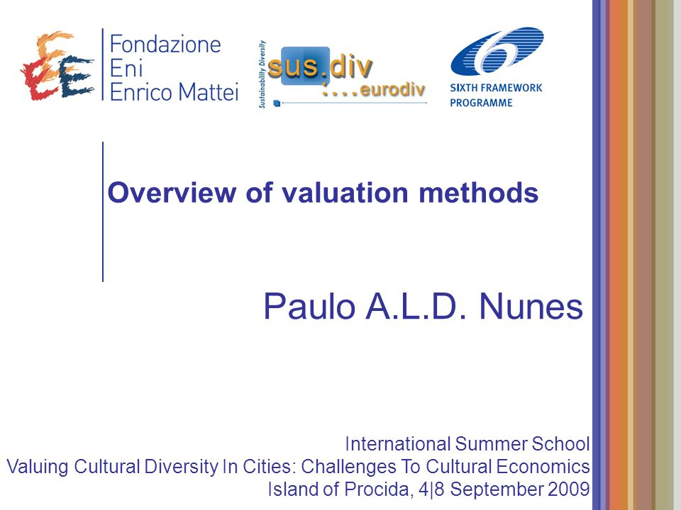 Overview of valuation methods Paulo A.L.D. Nunes International Summer School Valuing Cultural Diversity In Cities: Challenges To Cultural Economics Is