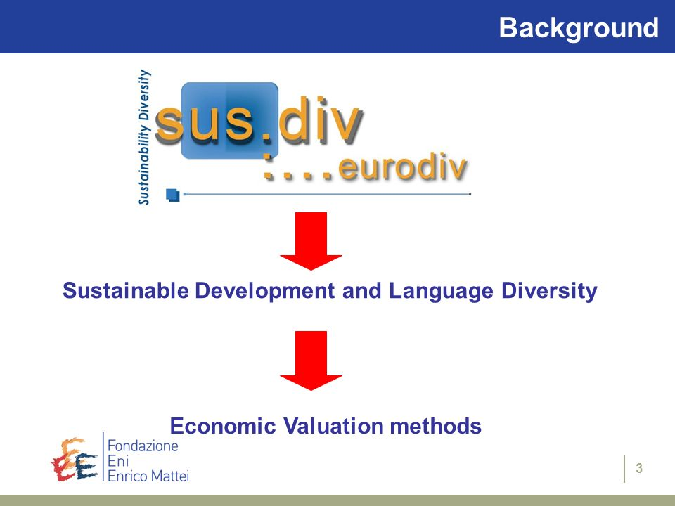 3 Background Economic Valuation methods Sustainable Development and Language Diversity