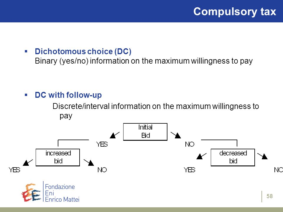 58 Dichotomous choice (DC) Binary (yes/no) information on the maximum willingness to pay DC with follow-up Discrete/interval information on the maximu