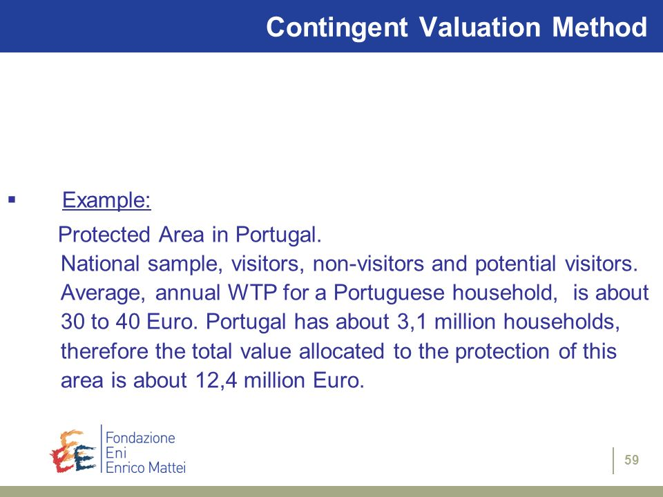 59 Contingent Valuation Method Example: Protected Area in Portugal. National sample, visitors, non-visitors and potential visitors. Average, annual WT