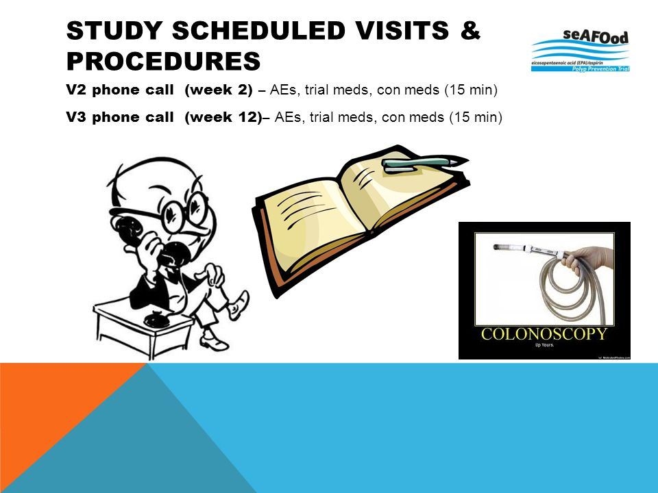 STUDY SCHEDULED VISITS & PROCEDURES V2 phone call (week 2) – AEs, trial meds, con meds (15 min) V3 phone call (week 12)– AEs, trial meds, con meds (15