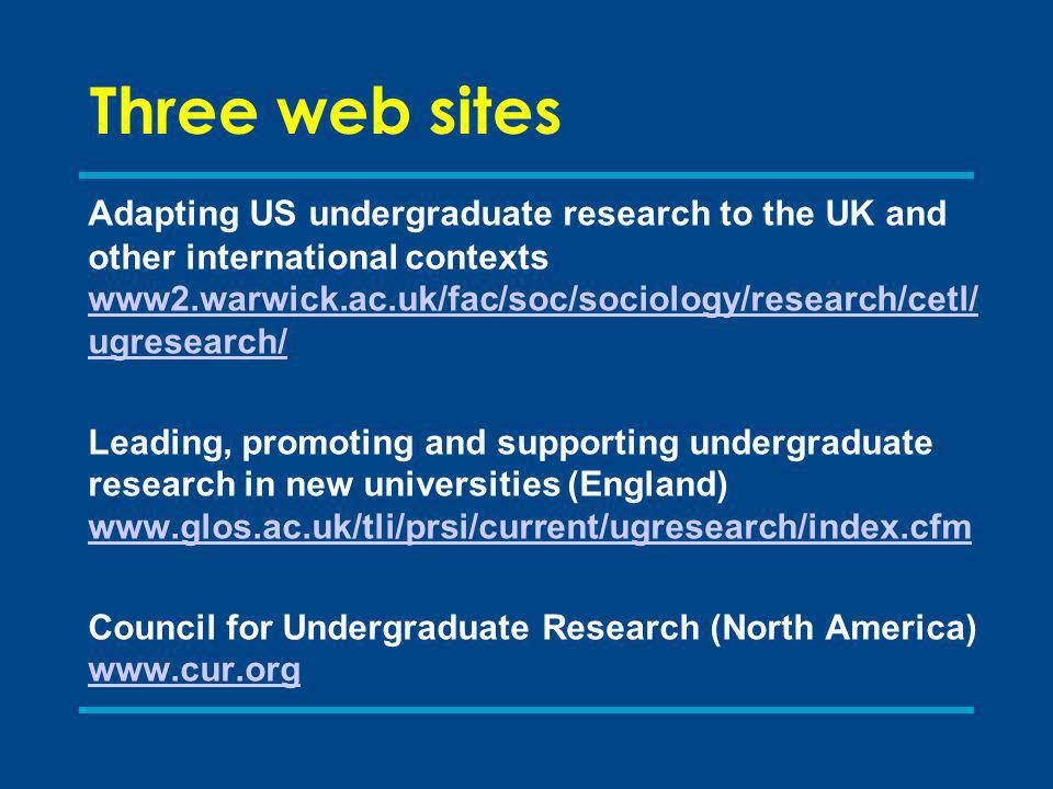 Three web sites Adapting US undergraduate research to the UK and other international contexts www2.warwick.ac.uk/fac/soc/sociology/research/cetl/ ugresearch/ www2.warwick.ac.uk/fac/soc/sociology/research/cetl/ ugresearch/ Leading, promoting and supporting undergraduate research in new universities (England) www.glos.ac.uk/tli/prsi/current/ugresearch/index.cfm www.glos.ac.uk/tli/prsi/current/ugresearch/index.cfm Council for Undergraduate Research (North America) www.cur.org www.cur.org