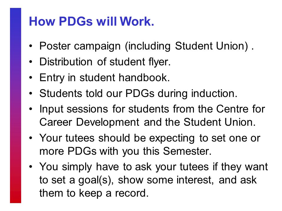 How PDGs will Work. Poster campaign (including Student Union).