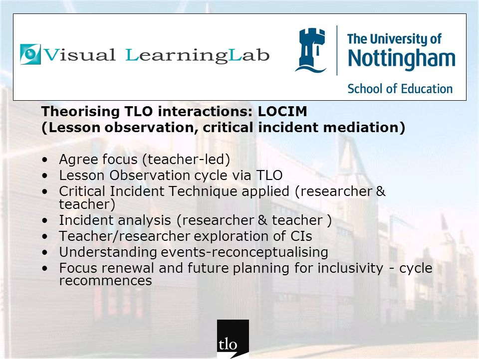 Theorising TLO interactions: LOCIM (Lesson observation, critical incident mediation) Agree focus (teacher-led) Lesson Observation cycle via TLO Critic