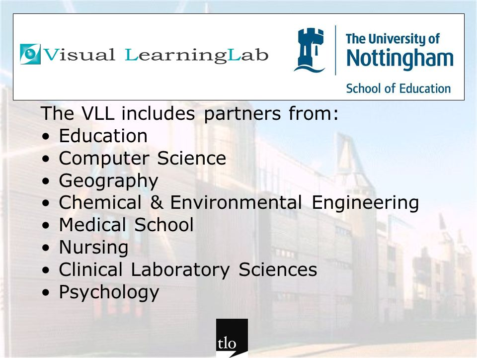 The VLL includes partners from: Education Computer Science Geography Chemical & Environmental Engineering Medical School Nursing Clinical Laboratory S