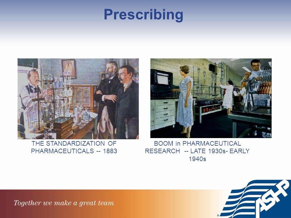THE STANDARDIZATION OF PHARMACEUTICALS BOOM in PHARMACEUTICAL RESEARCH -- LATE 1930s- EARLY 1940s Prescribing