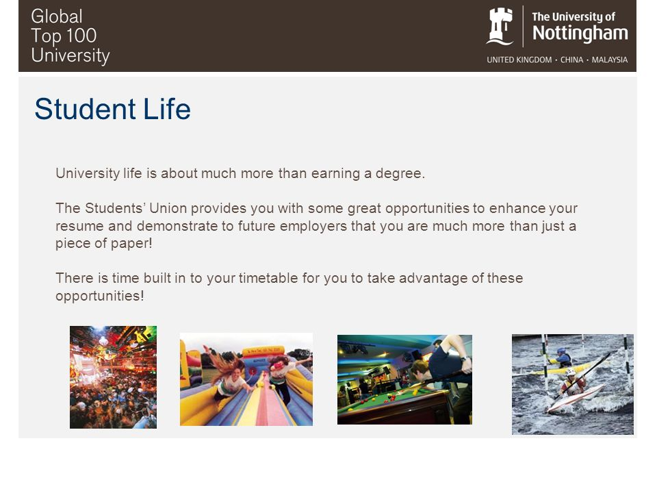 University life is about much more than earning a degree. The Students Union provides you with some great opportunities to enhance your resume and dem