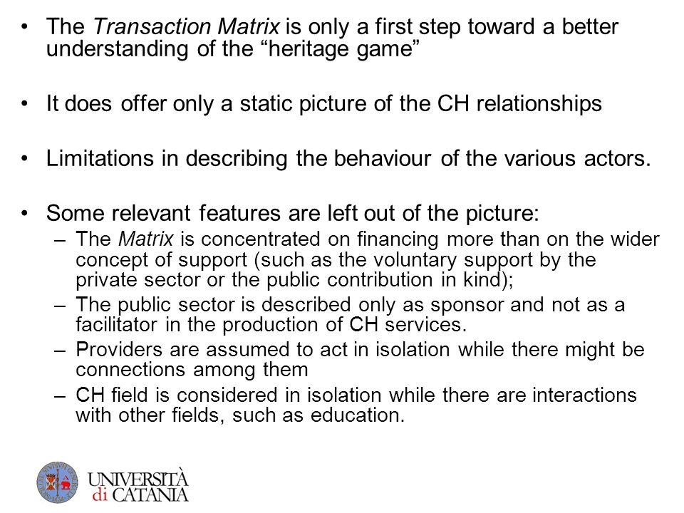 The Transaction Matrix is only a first step toward a better understanding of the heritage game It does offer only a static picture of the CH relations