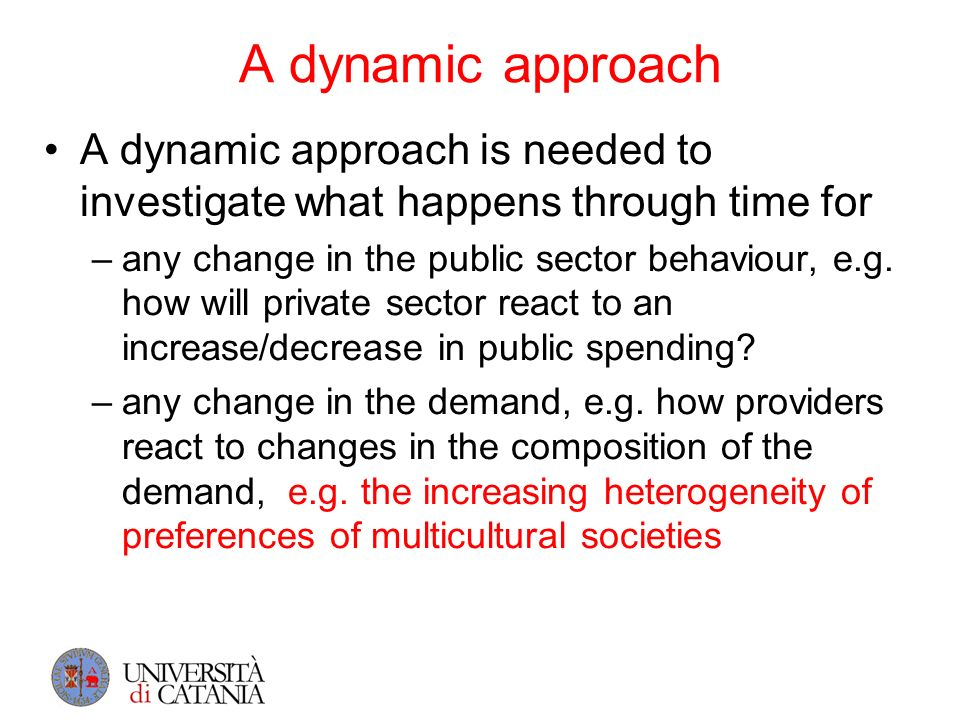 A dynamic approach A dynamic approach is needed to investigate what happens through time for –any change in the public sector behaviour, e.g. how will