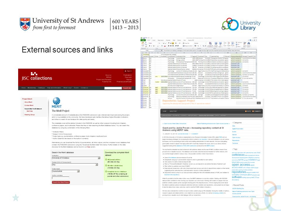 External sources and links