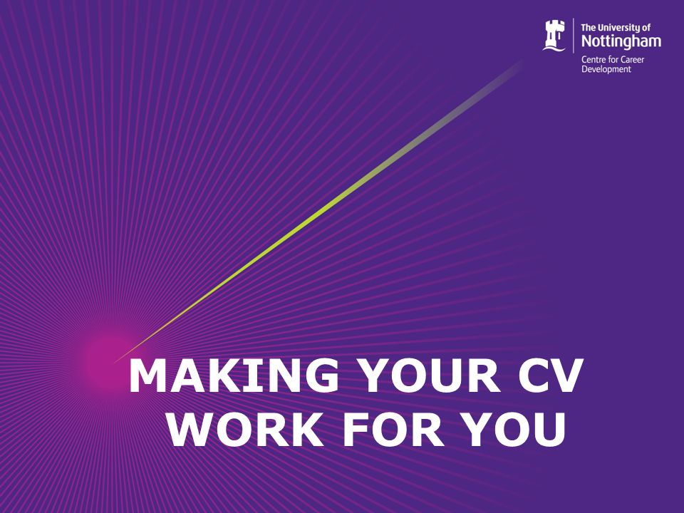 Objectives By the end of the session students should be able to: Understand what a CV is and when it is appropriate to use one Present their skills and attributes effectively on a CV Understand how to market themselves effectively Understand how to write an effective covering letter