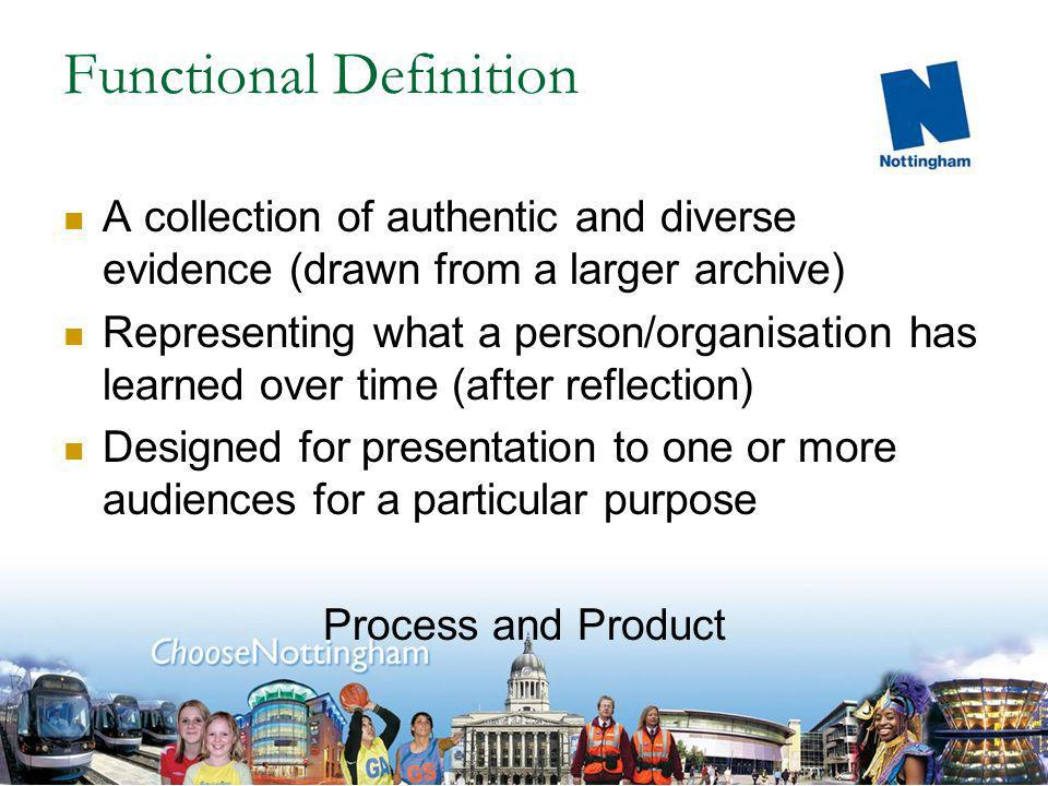 Functional Definition A collection of authentic and diverse evidence (drawn from a larger archive) Representing what a person/organisation has learned over time (after reflection) Designed for presentation to one or more audiences for a particular purpose Process and Product
