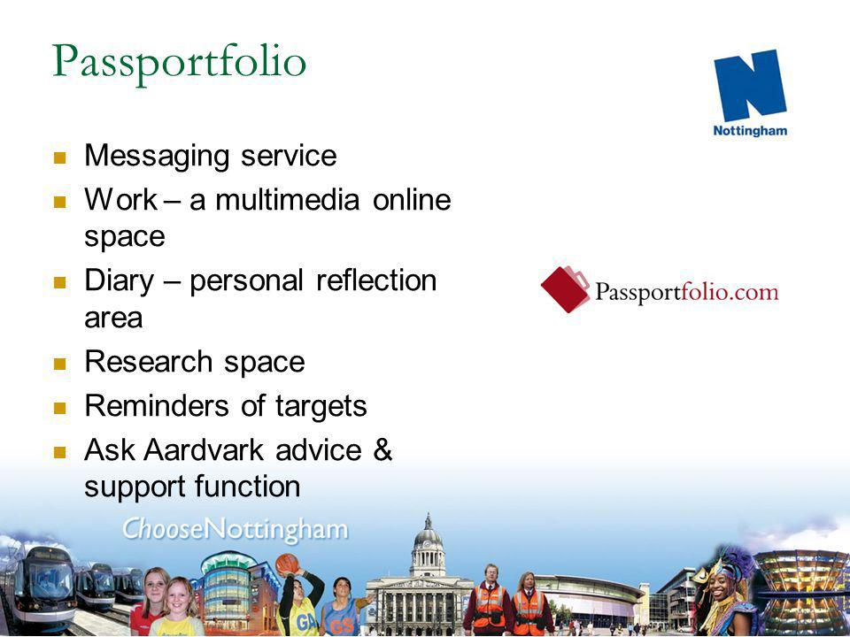 Passportfolio Messaging service Work – a multimedia online space Diary – personal reflection area Research space Reminders of targets Ask Aardvark advice & support function