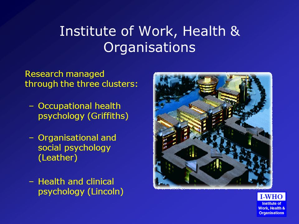 Institute of Work, Health & Organisations Research managed through the three clusters: –Occupational health psychology (Griffiths) –Organisational and social psychology (Leather) –Health and clinical psychology (Lincoln)