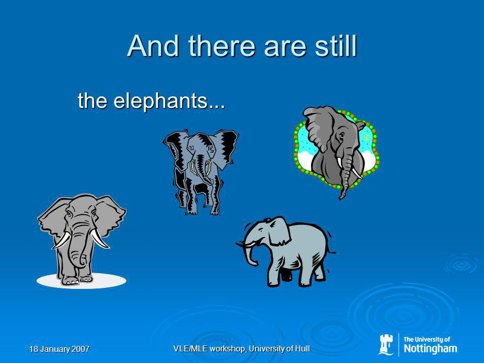 18 January 2007 VLE/MLE workshop, University of Hull And there are still the elephants...