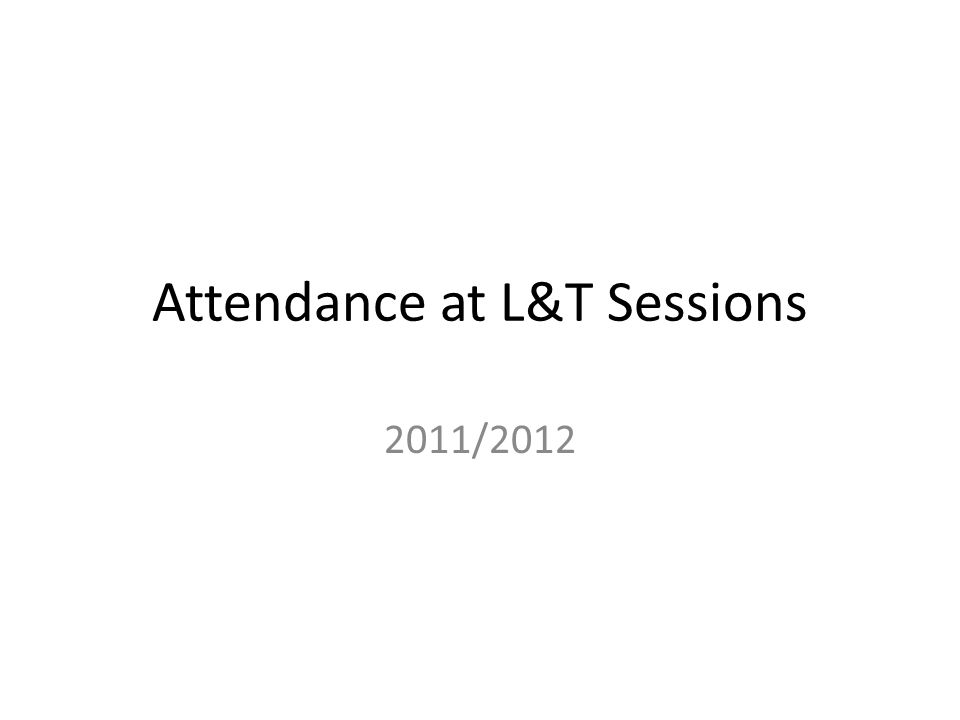 Attendance at L&T Sessions 2011/2012