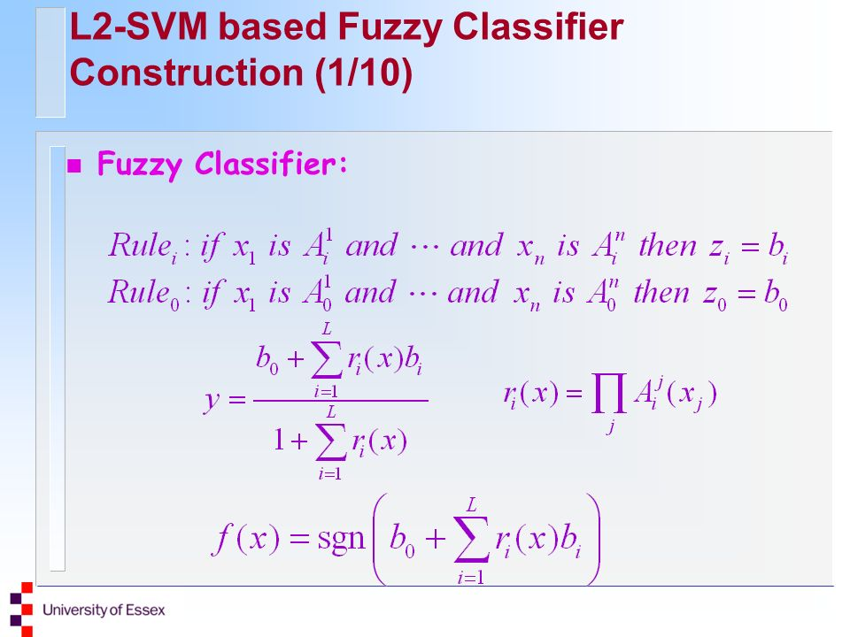 L2-SVM based Fuzzy Classifier Construction (1/10) Fuzzy Classifier: