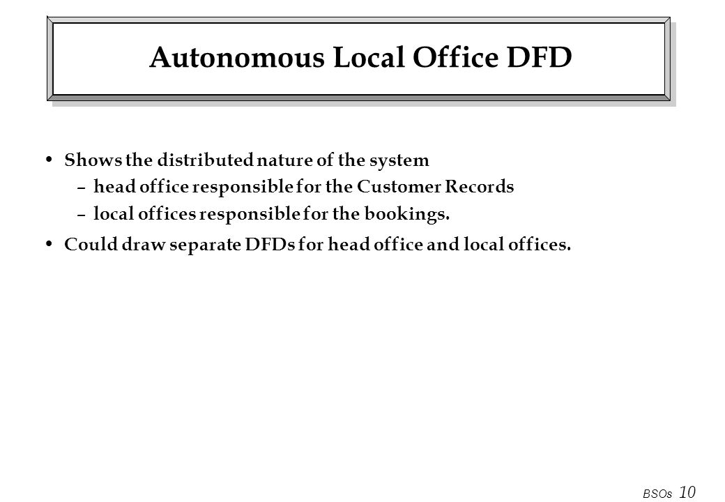 BSOs 10 Autonomous Local Office DFD Shows the distributed nature of the system – head office responsible for the Customer Records – local offices resp