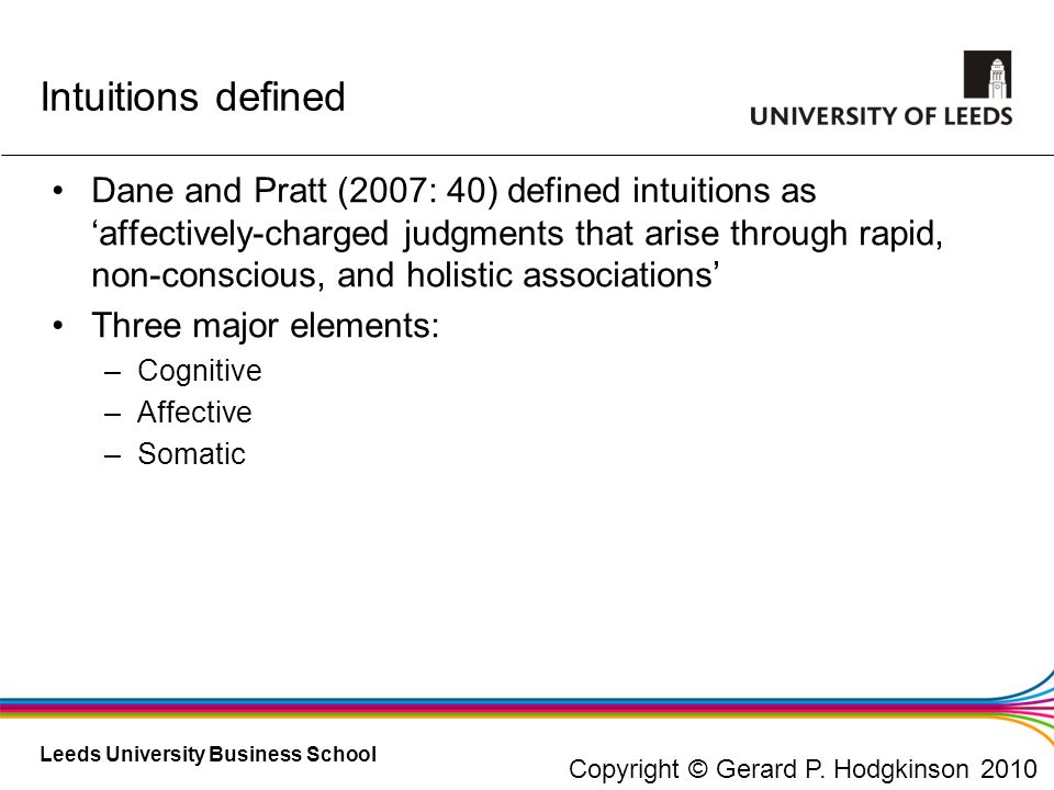 Leeds University Business School Dane and Pratt (2007: 40) defined intuitions as affectively-charged judgments that arise through rapid, non-conscious