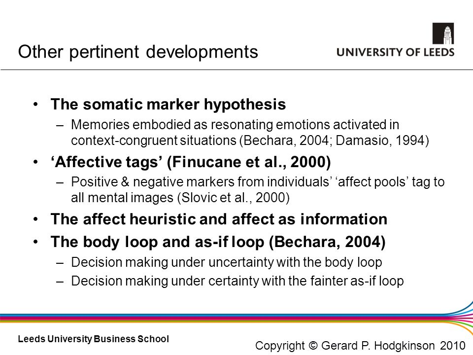 Leeds University Business School Other pertinent developments The somatic marker hypothesis –Memories embodied as resonating emotions activated in con