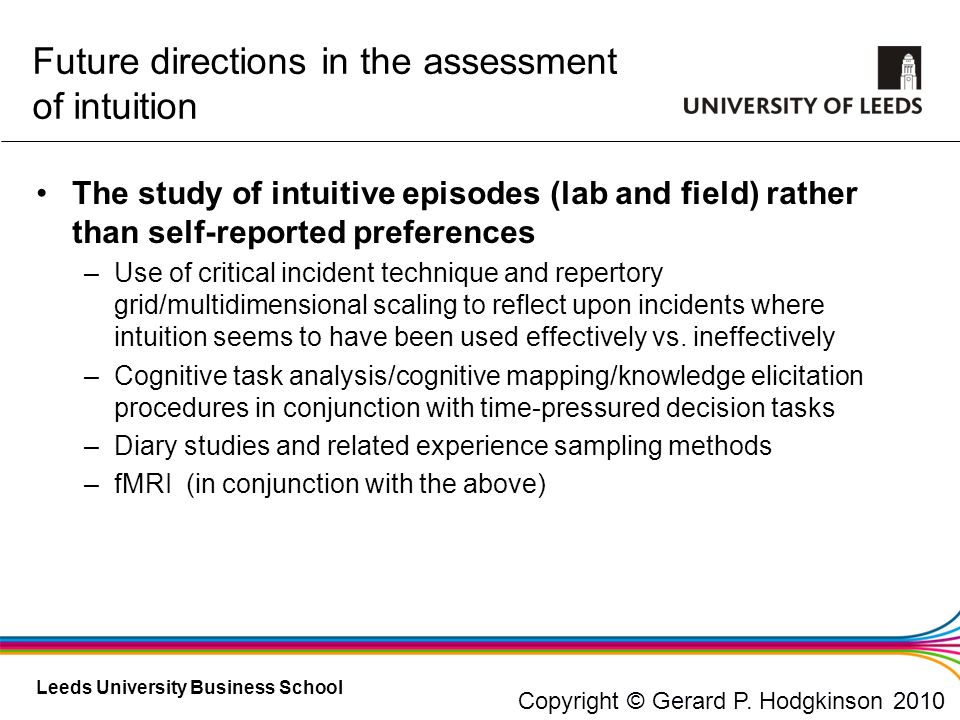Leeds University Business School Future directions in the assessment of intuition The study of intuitive episodes (lab and field) rather than self-rep
