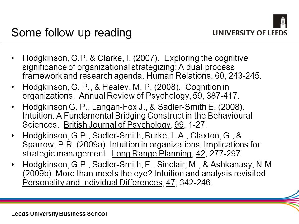 Leeds University Business School Some follow up reading Hodgkinson, G.P. & Clarke, I. (2007). Exploring the cognitive significance of organizational s