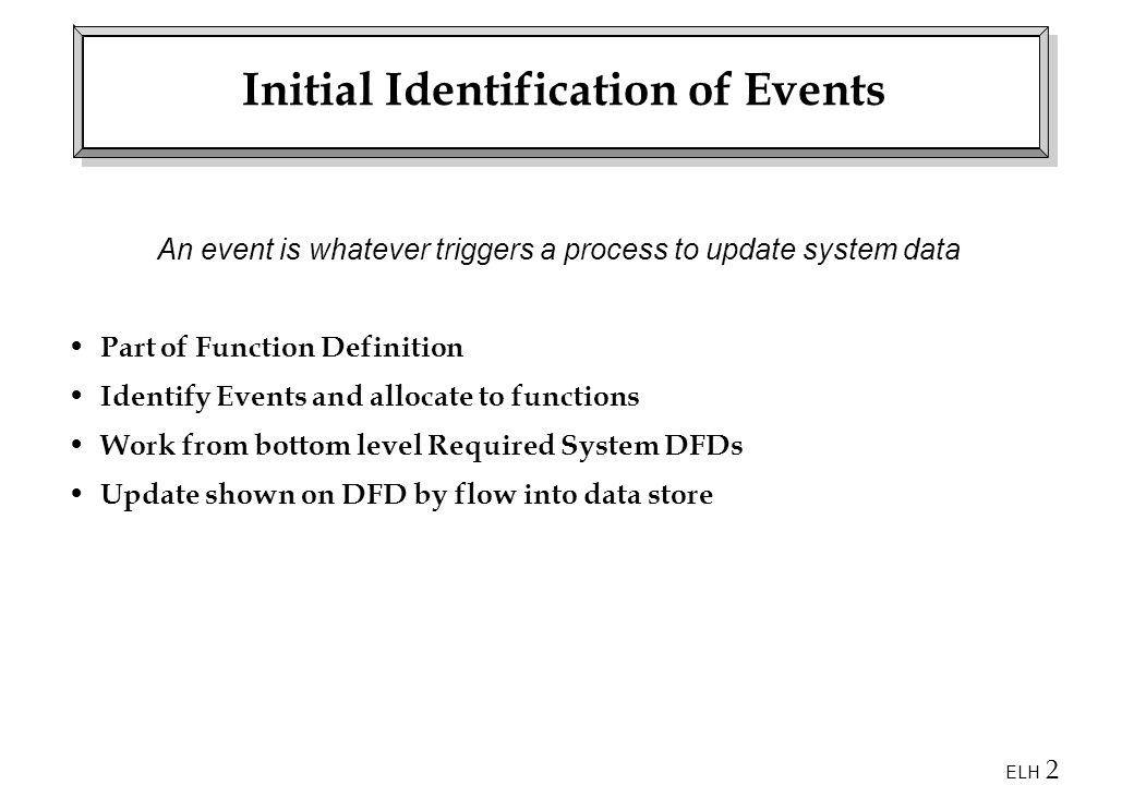 ELH 2 Initial Identification of Events An event is whatever triggers a process to update system data Part of Function Definition Identify Events and allocate to functions Work from bottom level Required System DFDs Update shown on DFD by flow into data store
