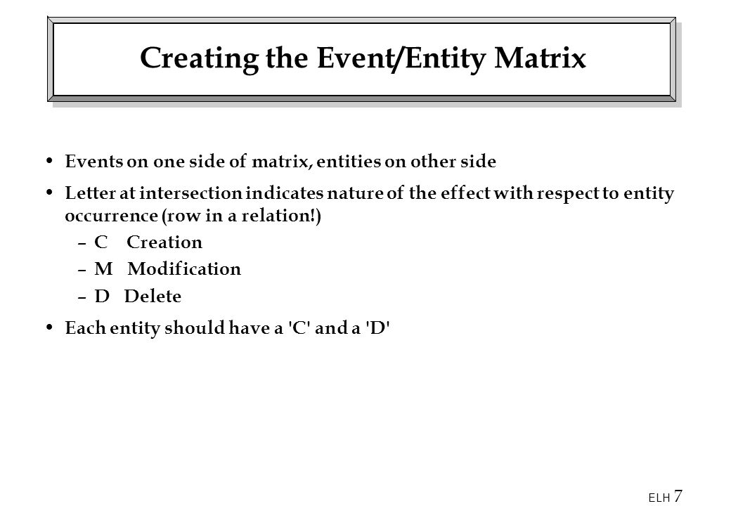 ELH 7 Creating the Event/Entity Matrix Events on one side of matrix, entities on other side Letter at intersection indicates nature of the effect with respect to entity occurrence (row in a relation!) – C Creation – M Modification – D Delete Each entity should have a C and a D