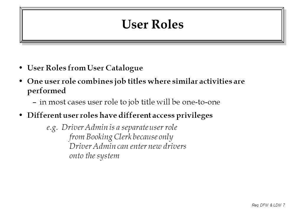 Req DFM & LDM 7 User Roles User Roles from User Catalogue One user role combines job titles where similar activities are performed –in most cases user