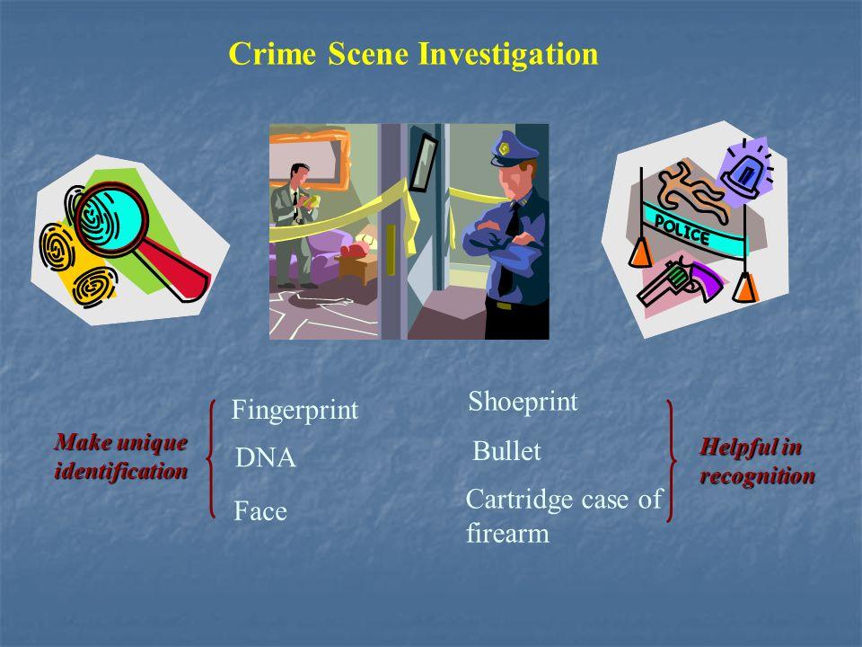 Crime Scene Investigation DNA Shoeprint Bullet Cartridge case of firearm Fingerprint Make unique identification Helpful in recognition Face