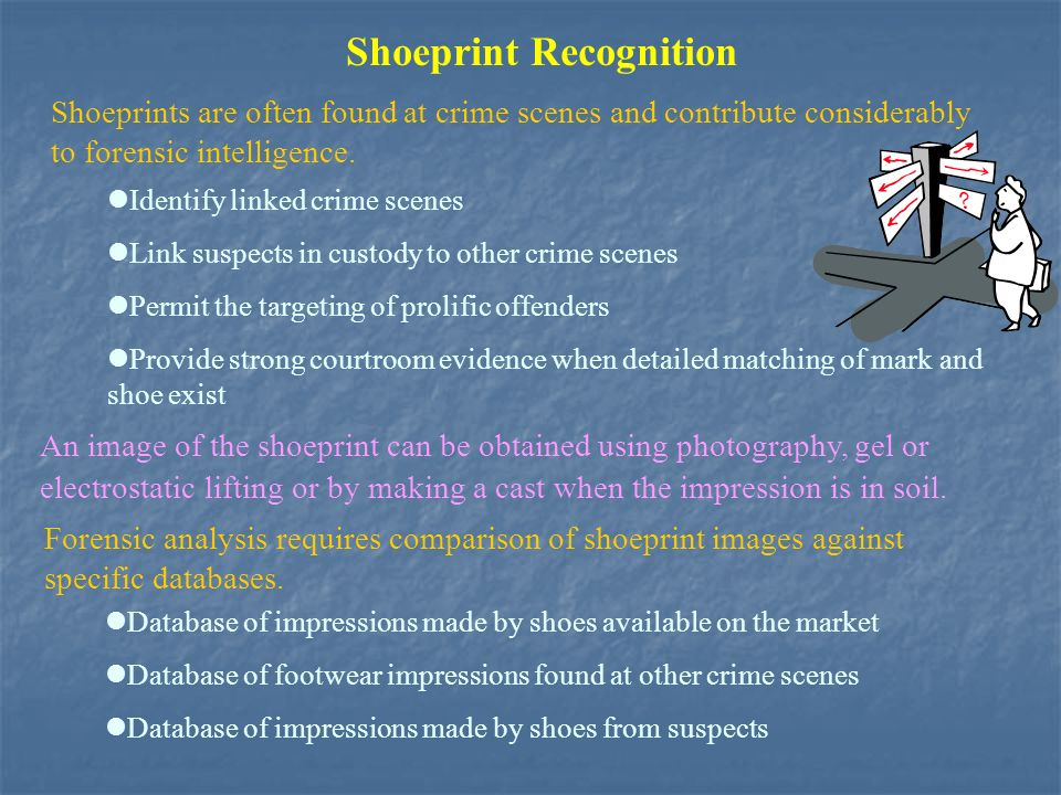 Shoeprint Recognition Shoeprints are often found at crime scenes and contribute considerably to forensic intelligence.