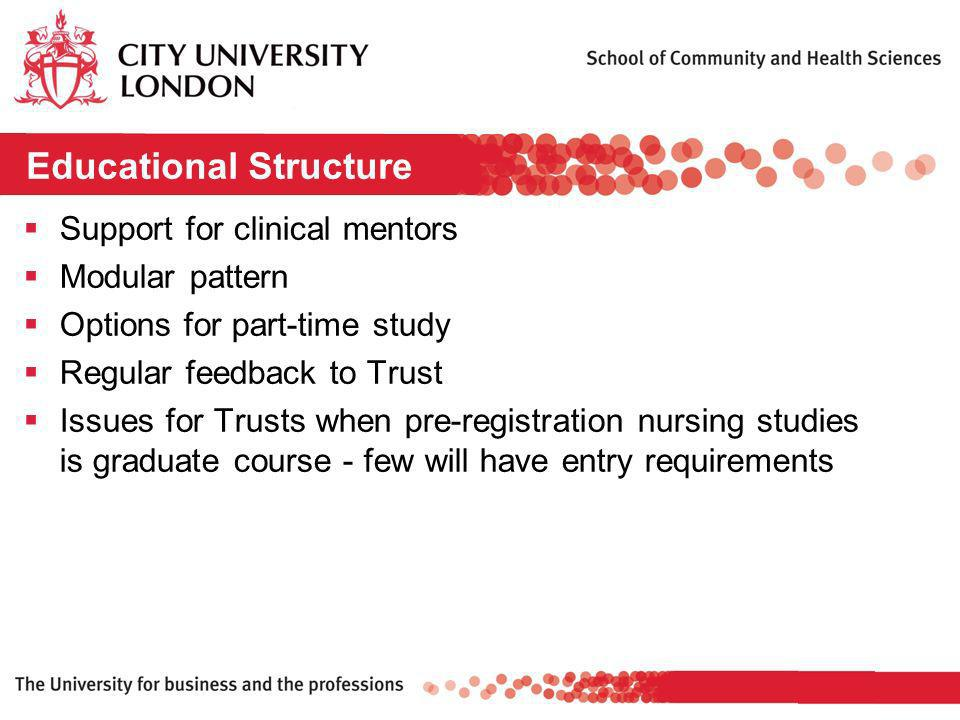 Educational Structure Support for clinical mentors Modular pattern Options for part-time study Regular feedback to Trust Issues for Trusts when pre-registration nursing studies is graduate course - few will have entry requirements