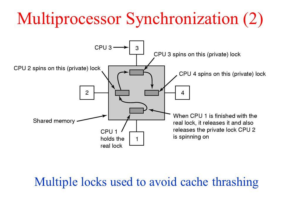 Multiprocessor Synchronization (2) Multiple locks used to avoid cache thrashing