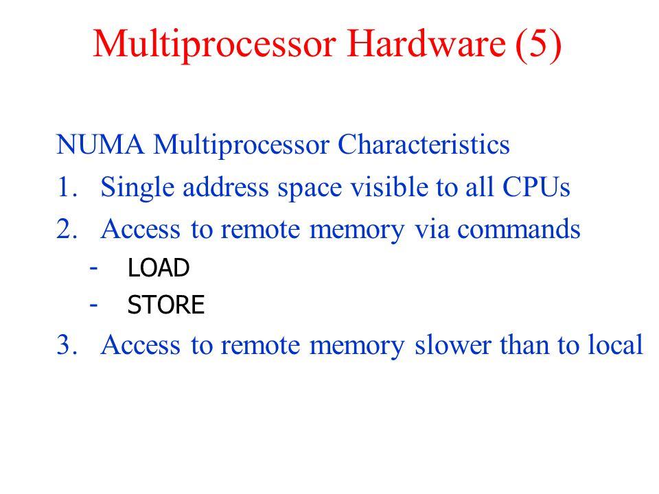 Multiprocessor Hardware (5) NUMA Multiprocessor Characteristics 1.Single address space visible to all CPUs 2.Access to remote memory via commands -LOA