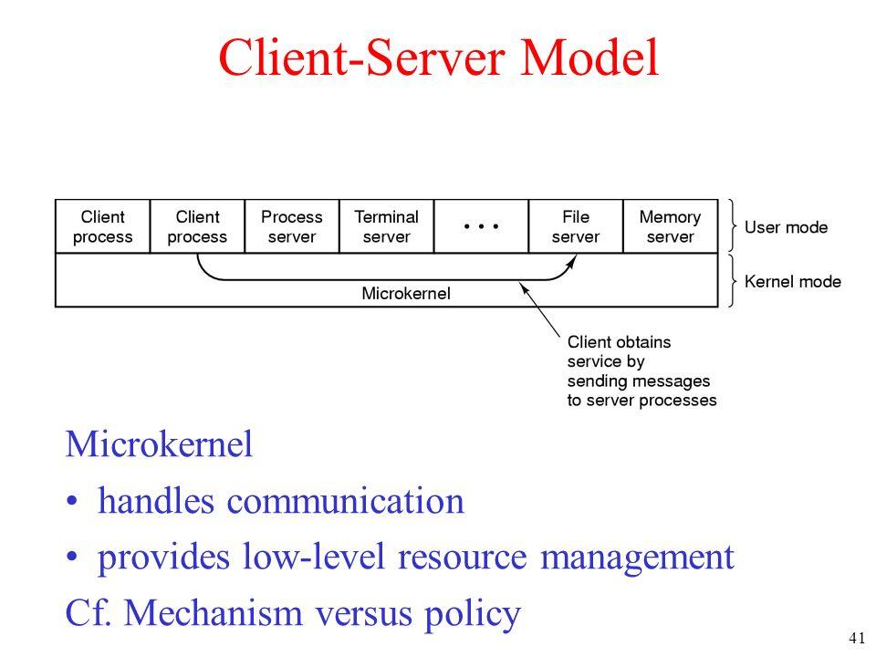 41 Client-Server Model Microkernel handles communication provides low-level resource management Cf. Mechanism versus policy